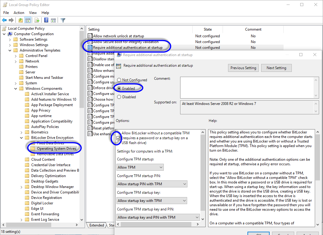 how to allow bitlocker without a compatible tpm